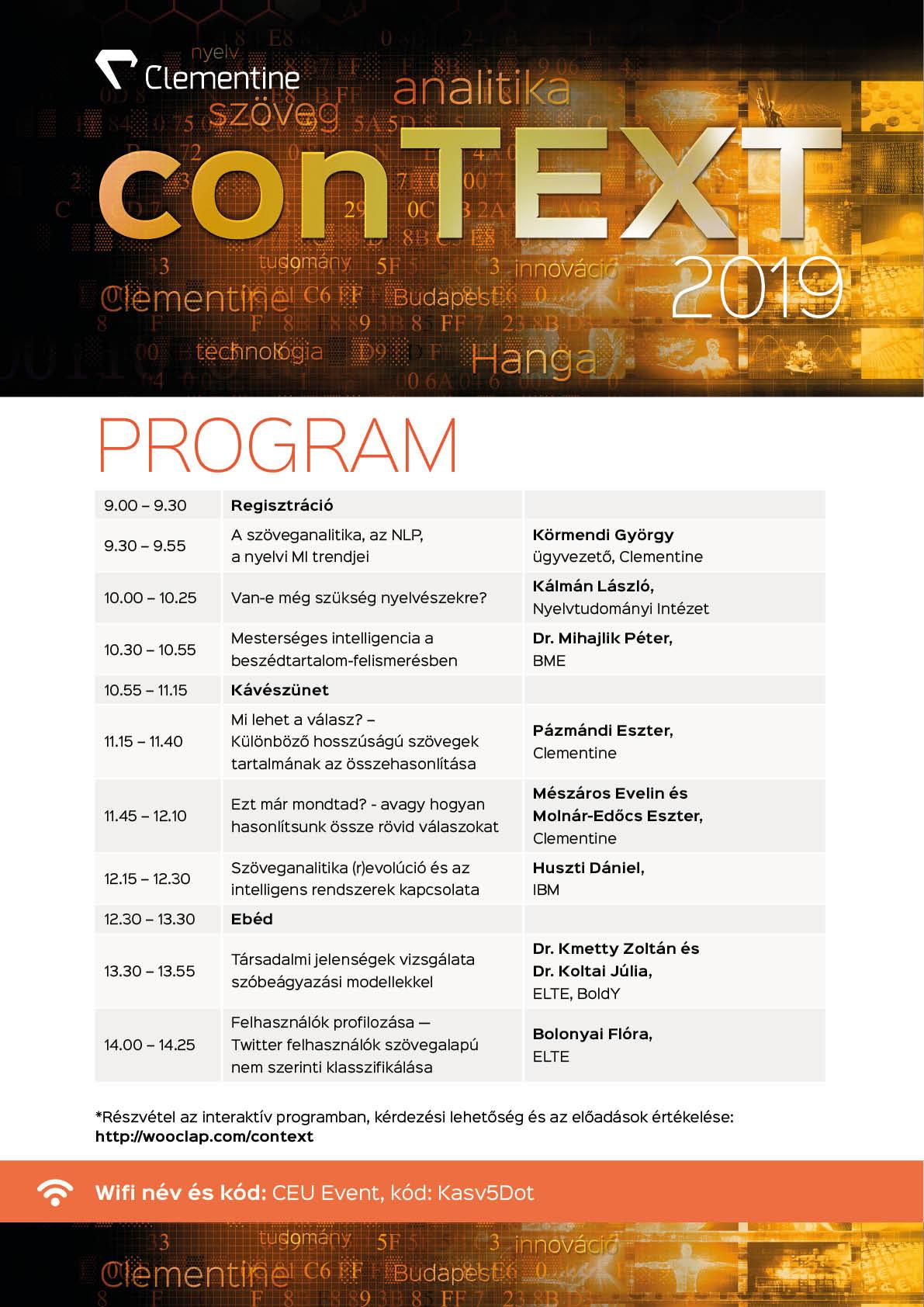 2019 conTEXT - programok